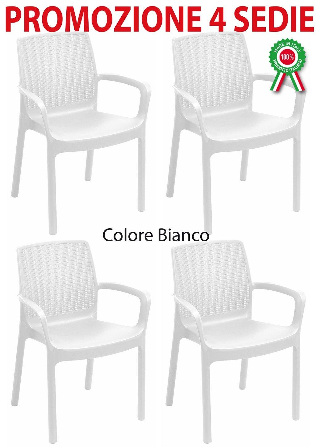 4 pz Poltrona sedia regina in dura resina finto rattan vimini bianca Savino Fiorenzo
