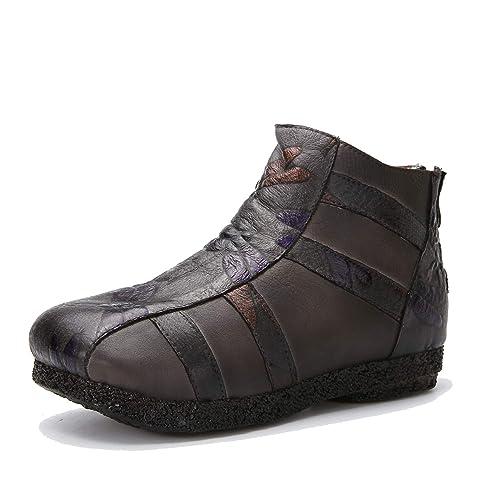 Mocasines de Cuero Plano Vintage de Mujer Botas Tobilleras con Relieve en Relieve y Cremallera Zapatos de Suela Suave: Amazon.es: Zapatos y complementos