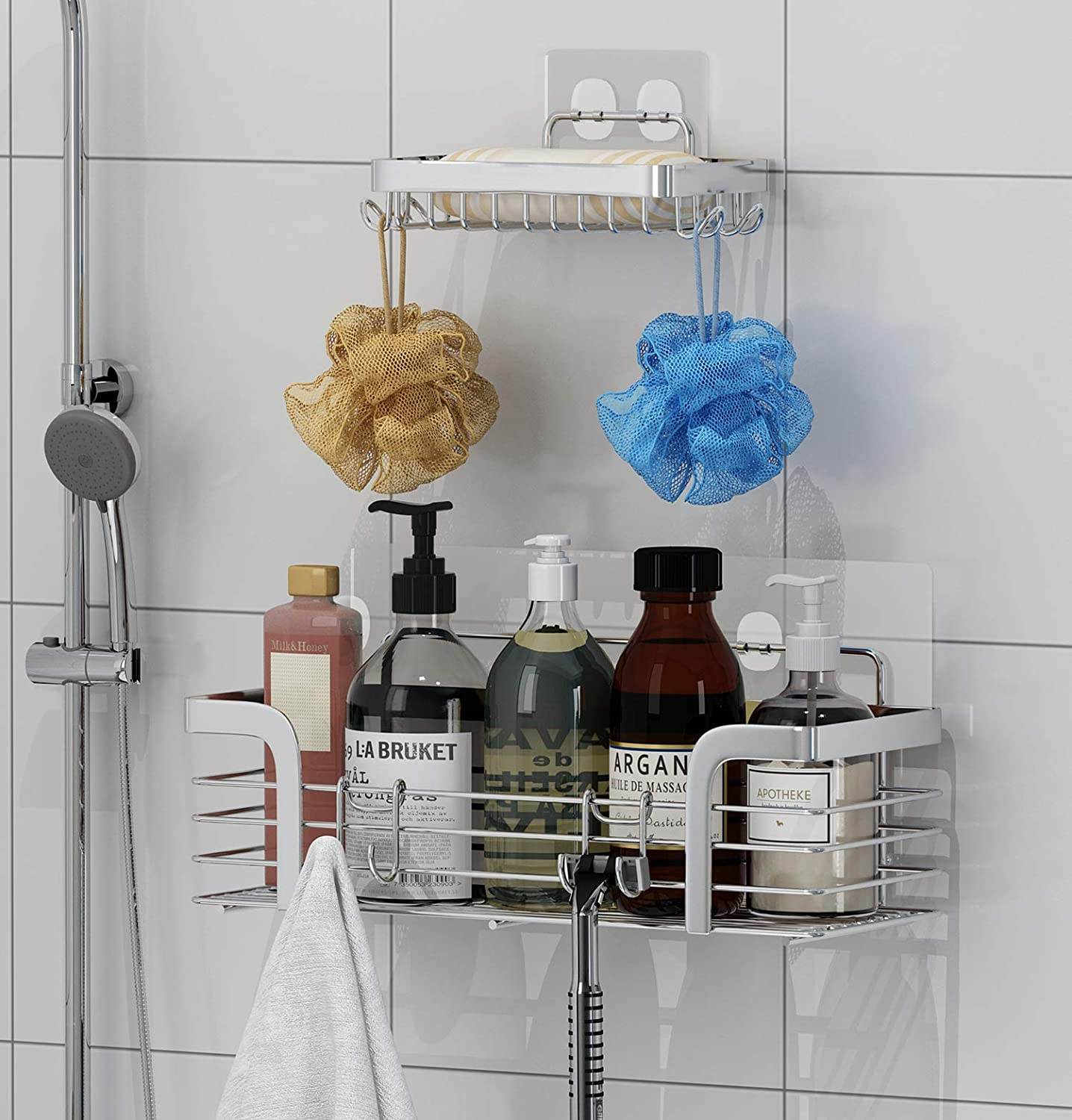 Shower Caddy and Soap Dish with Hooks Shower Shelf Bathroom Organizer, No Drilling Adhesive Wall Mounted Bathroom Shelf, Rustproof SUS304 Stainless Steel ( 2 Pack )