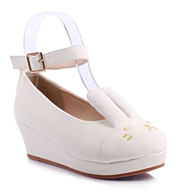 Amazon.com | New Girls Faux Leather Ankle Strap Buckle Cute Bunny ...