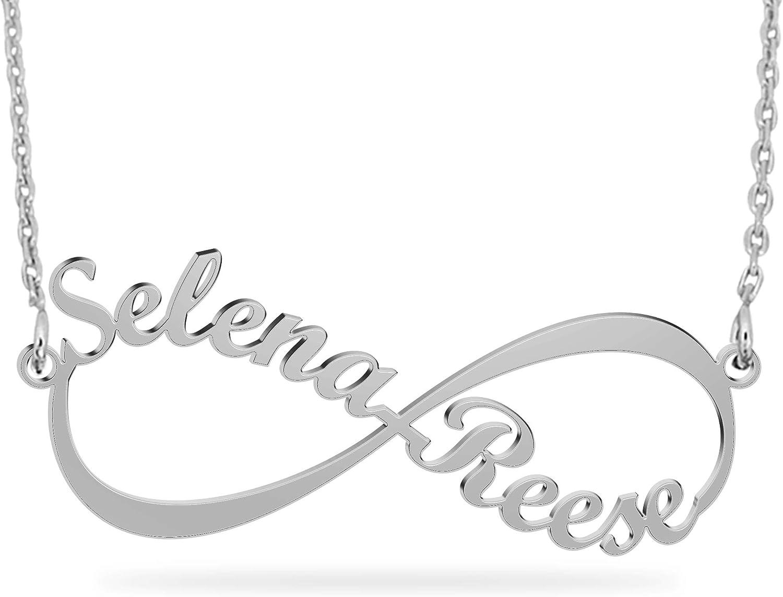 JoelleJewelryDesign Collar Plata Colgante con Nombre Infinito Personalizados Regalo para Familia Cadena Más Extención