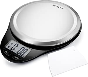 Digital Kitchen Scale with Dough Scraper, NUTRI FIT High Accuracy Multifunction Food Scale with LCD Display for Baking Kitchen Cooking,Tare & Auto Off Function (State Black)