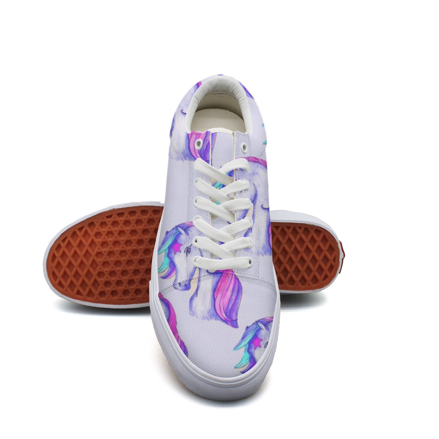 Ouxioaz Womens Action Shoes Watercolor Unicorn Canvas Tennis Shoes