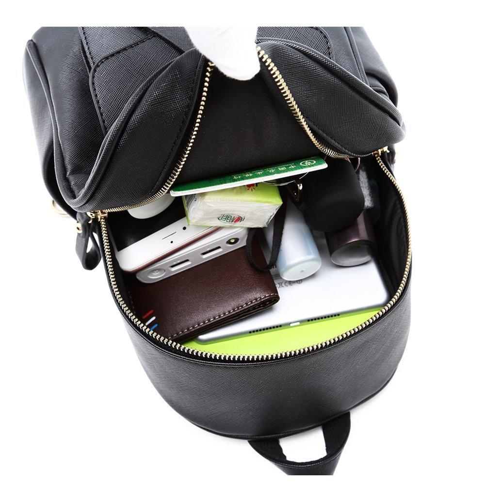WINK KANGAROO Fashion Shoulder Bag Rucksack PU Leather Women Girls Ladies Backpack Travel bag (Black Small Size) by WINK KANGAROO (Image #7)