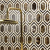 New Era Dark Emperador Long Hexagon With Crema Marfil (Sold by:SHEET) NERADKEMPCRM