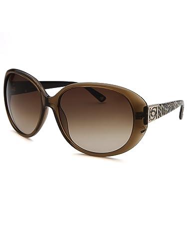 Bebe Womens Daring Round Sunglasses - Brown & Cheetah Print