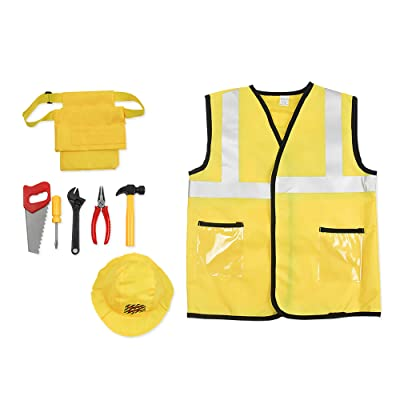 Construction Worker Costume Set for Boys Kids Engineering Role Play Dress up Cosplay Accessories Toys for Boys Kids Girls Ages 3-7 Years Gold: Clothing