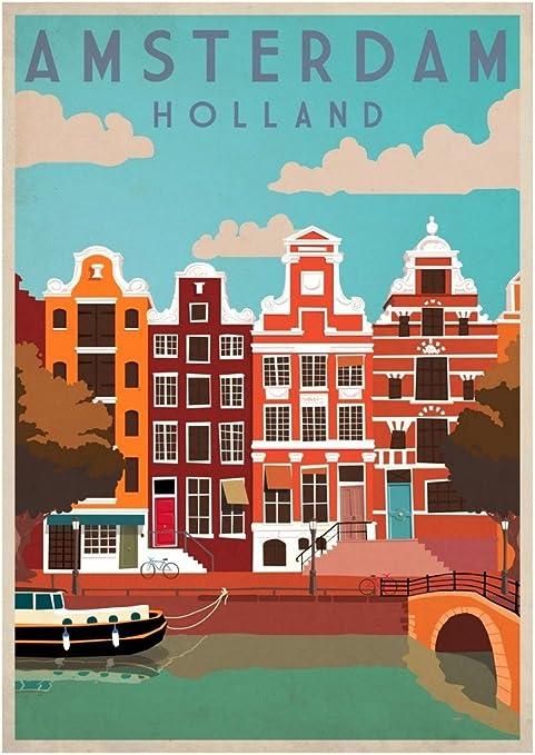 VINTAGE SEE HOLLAND NETHERLANDS A2 POSTER PRINT