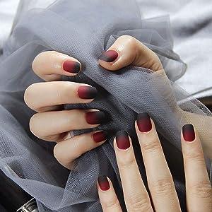 24pcs 12 Different Size Fairy Tale Apple Gradient Black Red Matte Short Square Full Cover False Nails with Design (apple)