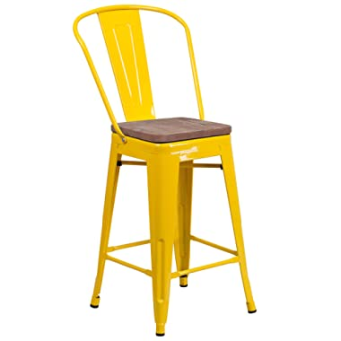 Taylor + Logan 24 Inch High Metal Counter Height Stool with Back and Wood Seat, Yellow