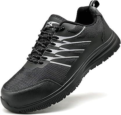 Calzado de Industrial y Deportiva Negro 39-46EU Zapatos de Seguridad para Hombre con Puntera de Acero Zapatillas de Seguridad Trabajo