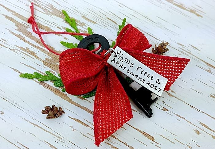 My First Apartment 2017 Hand Stamped Skeleton Key Ornament