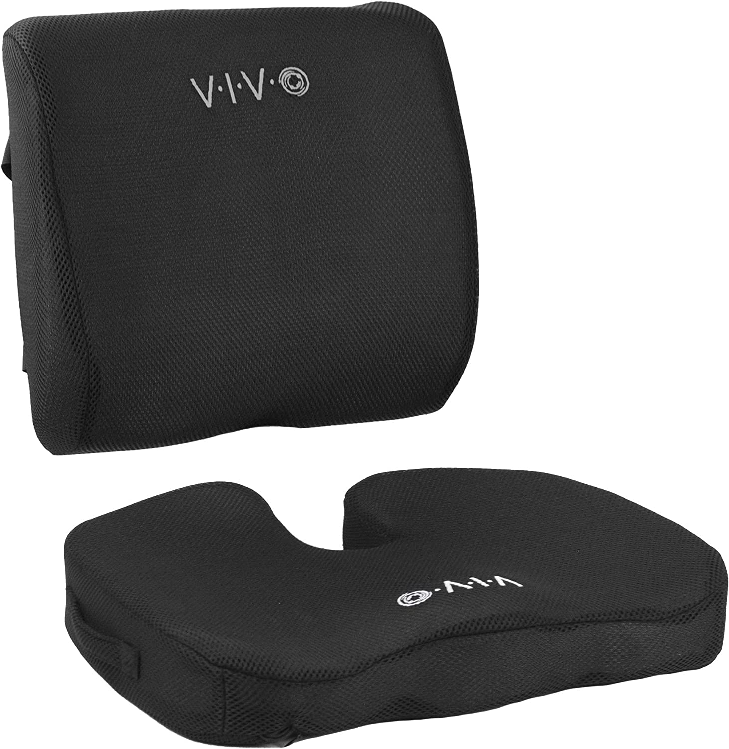 VIVO Black Memory Foam Seat Bottom and Back Cushion Combo Designed for Office Chairs Adjustable Security Straps and Comfort Padding CUSH-V02K