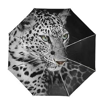 ALAZA Viajes Leopardo Salvaje Animal Paraguas de Apertura automática Cerca de Protección UV a Prueba de