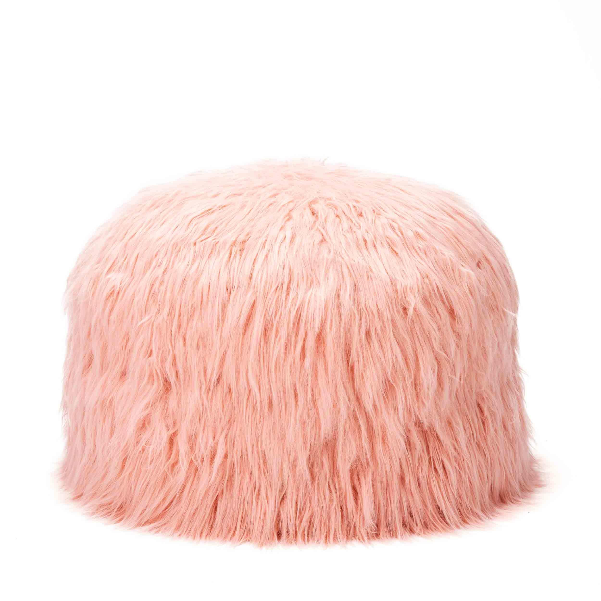 mimish Storage Pouf - Toy and Stuffed Animal Storage for Kids - Himalaya Faux Fur, Dusty Blush by mimish