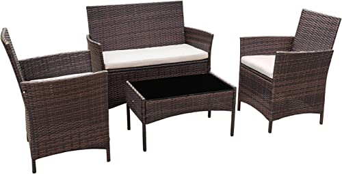 Flamaker Outdoor Furniture Patio Set Cushioned PE Wicker Rattan Chair