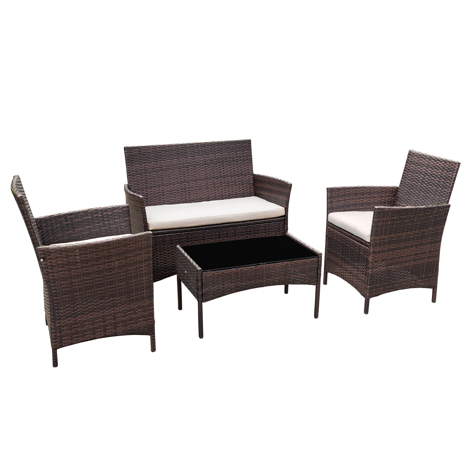 Flamaker Outdoor Furniture Patio Set Cushioned PE Wicker Rattan Chairs with Coffee Table 4 PCS for Garden Poolside Porch Backyard Lawn Balcony Use