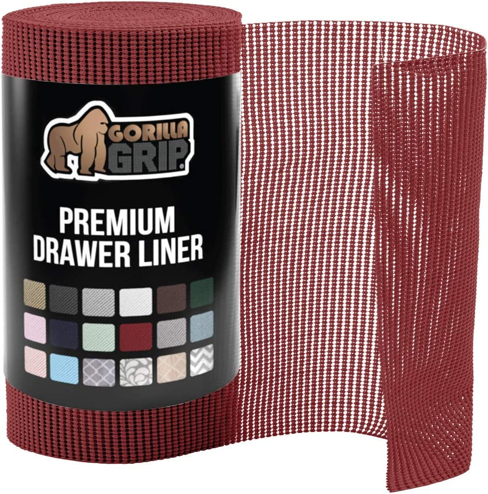 Gorilla Grip Original Drawer and Shelf Liner, Non Adhesive Roll, 20 Inch x 20 FT, Durable and Strong, Grip Liners for Drawers, Shelves, Cabinets, Storage, Kitchen and Desks, Red