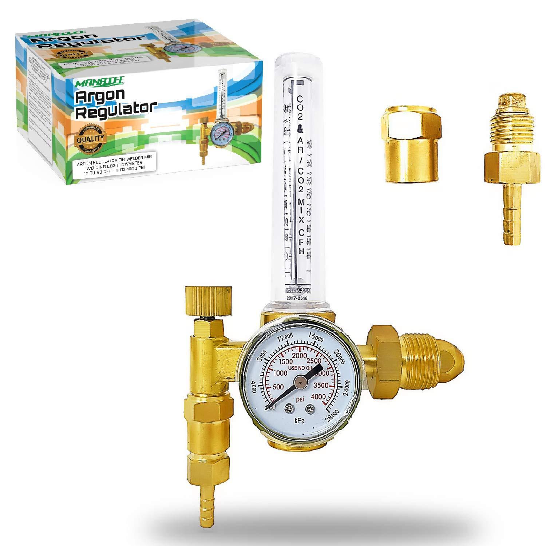 Manatee Argon Regulator TIG Welder MIG Welding CO2 Flowmeter 10 to 60 CFH - 0 to 4000 psi pressure gauge CGA580 inlet Connection Gas Welder Welding Regulator Accurate Gas Metering System by MANATEE