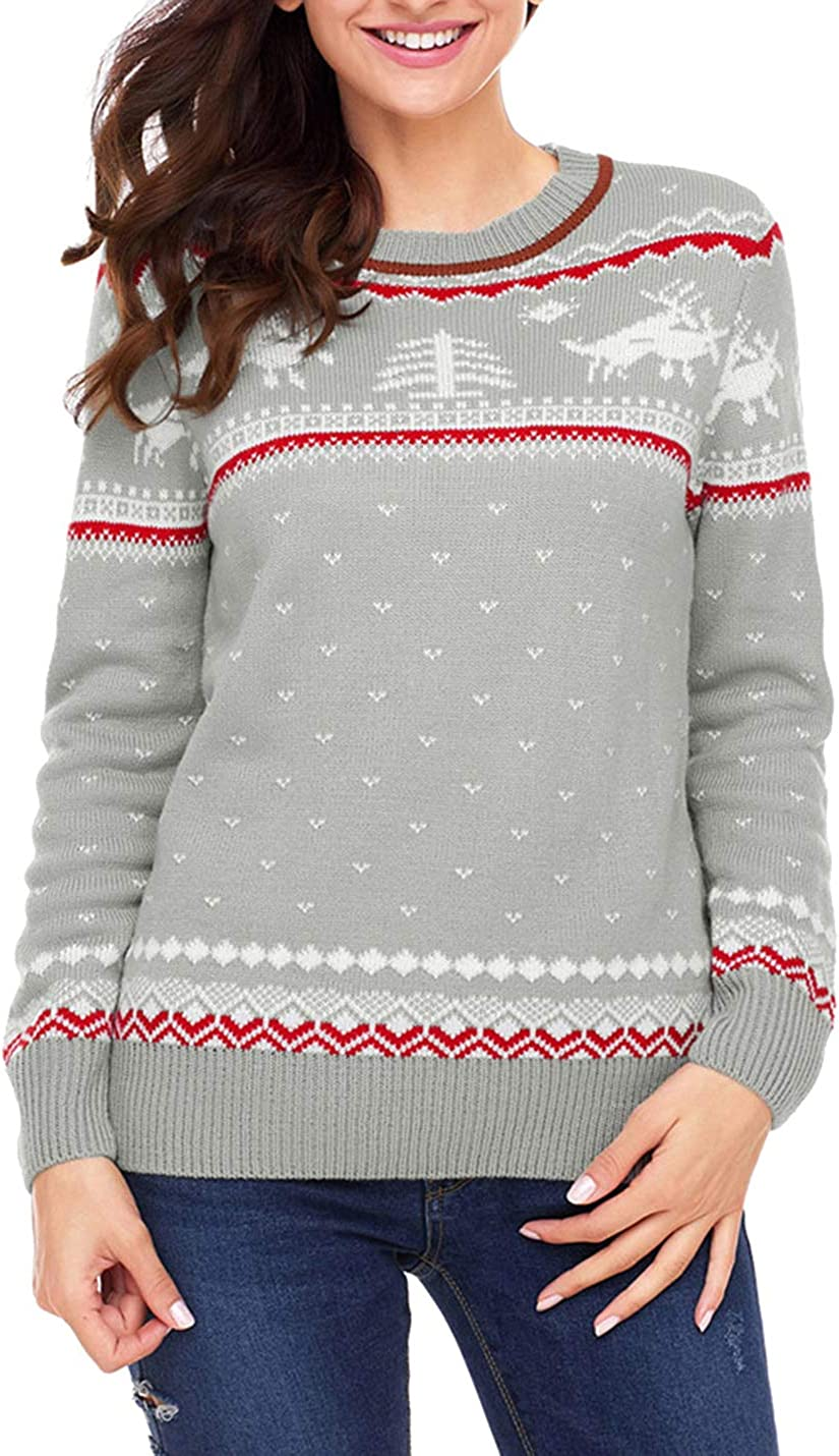 Yeokou Womens Ugly O-Neck Christmas Knitted Pullover Sweaters Jumper with Pattern