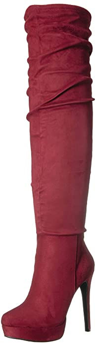 a76c4e3dc9 Chinese Laundry Women's Leyla Over The Over The Knee Boot Oxblood Suede 5  ...