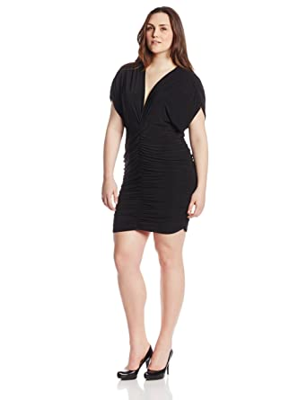 Star Vixen Womens Plus Size Cap Sleeve Rouched Cocoon Dress At