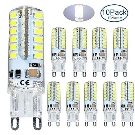 ELINKUME 10 Pack G9 LED Lámpara 4W Blanco frío, Reemplazo para 40W G9 Bombillas halógenas