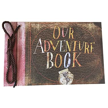 LINKEDWIN Our Adventure Book, Pixar Up Themed Scrapbook with Movie Postcards, Wedding and Anniversary Photo Album, Memory Keepsake, 11.6 x 7.5 inch, 80 Pages (Dark Coffee)