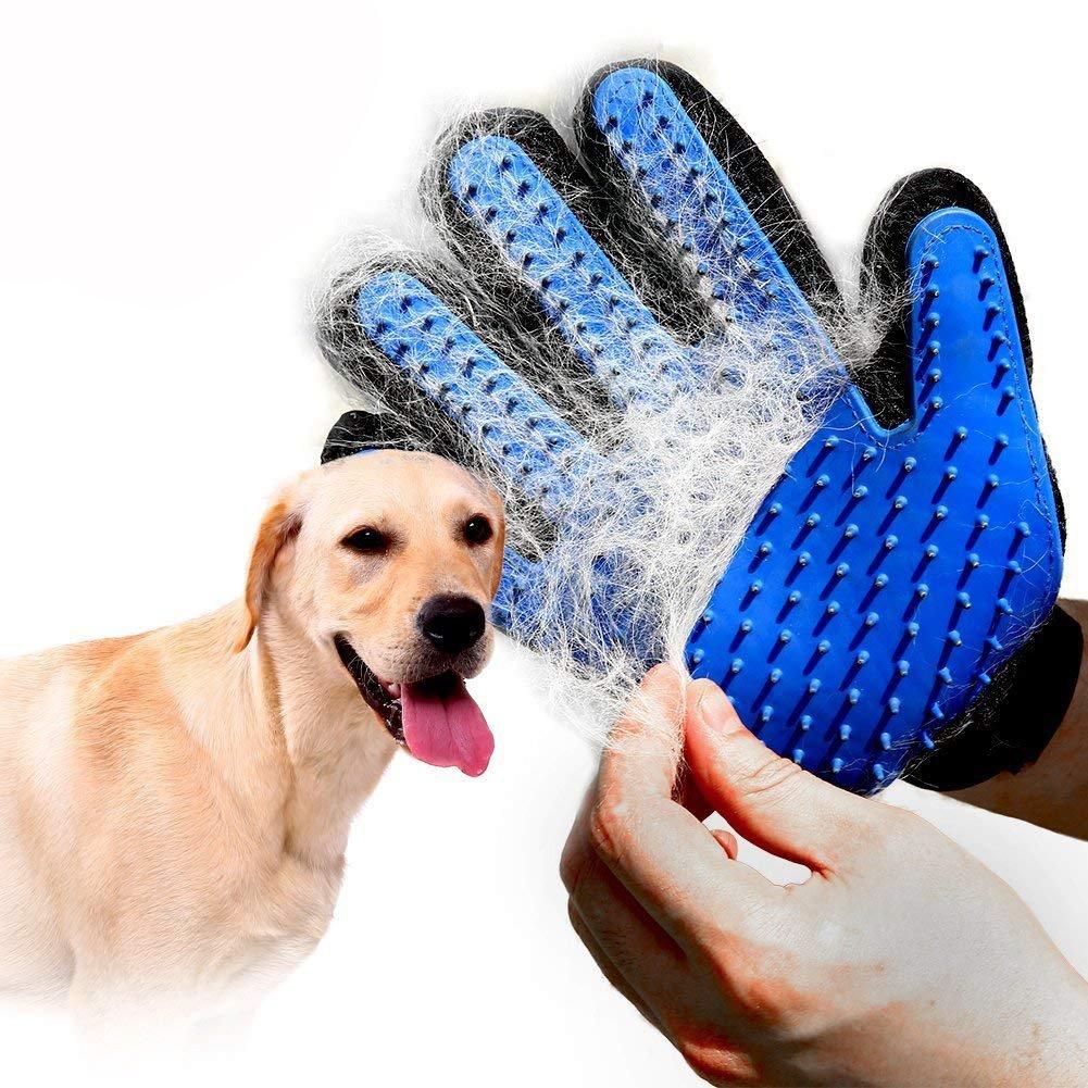QBLEEV Pet Grooming Gloves,Dog Deshedding Brush Massage Tools,Cat Mitt Brush Hair Removal Shedding Puppy Hair Remover Bathing Mitts for Horses,Rabbits Long and Short Fur -1 Pair
