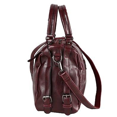 88741a33de4 Amazon.com  DALFR Women Top Handle Satchel Handbags PU Vegan Leather Crossbody  Bag Over Size Shoulder Messenger Bag Tote Bag Purse (Dark Red)  Home   ...