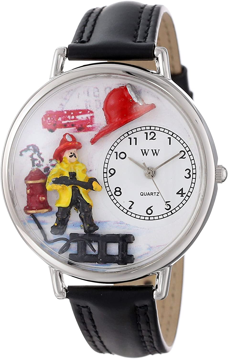 Whimsical Watches Unisex U0610027 Firefighter Black Padded Leather Watch