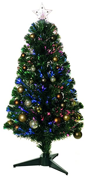 Fibre Optic Christmas Tree With Baubles.3ft Green Pre Decorated Fibre Optic Artificial Christmas Tree Lights Baubles