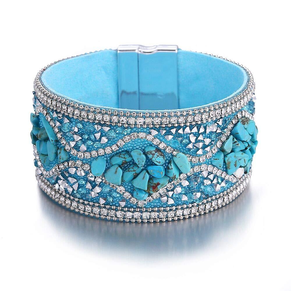 17mile Multi-Layer Leather Bracelet Alloy Magnetic Clasp Handmade Braided Boho Wrap Bracelets for Women,Girls,Mother