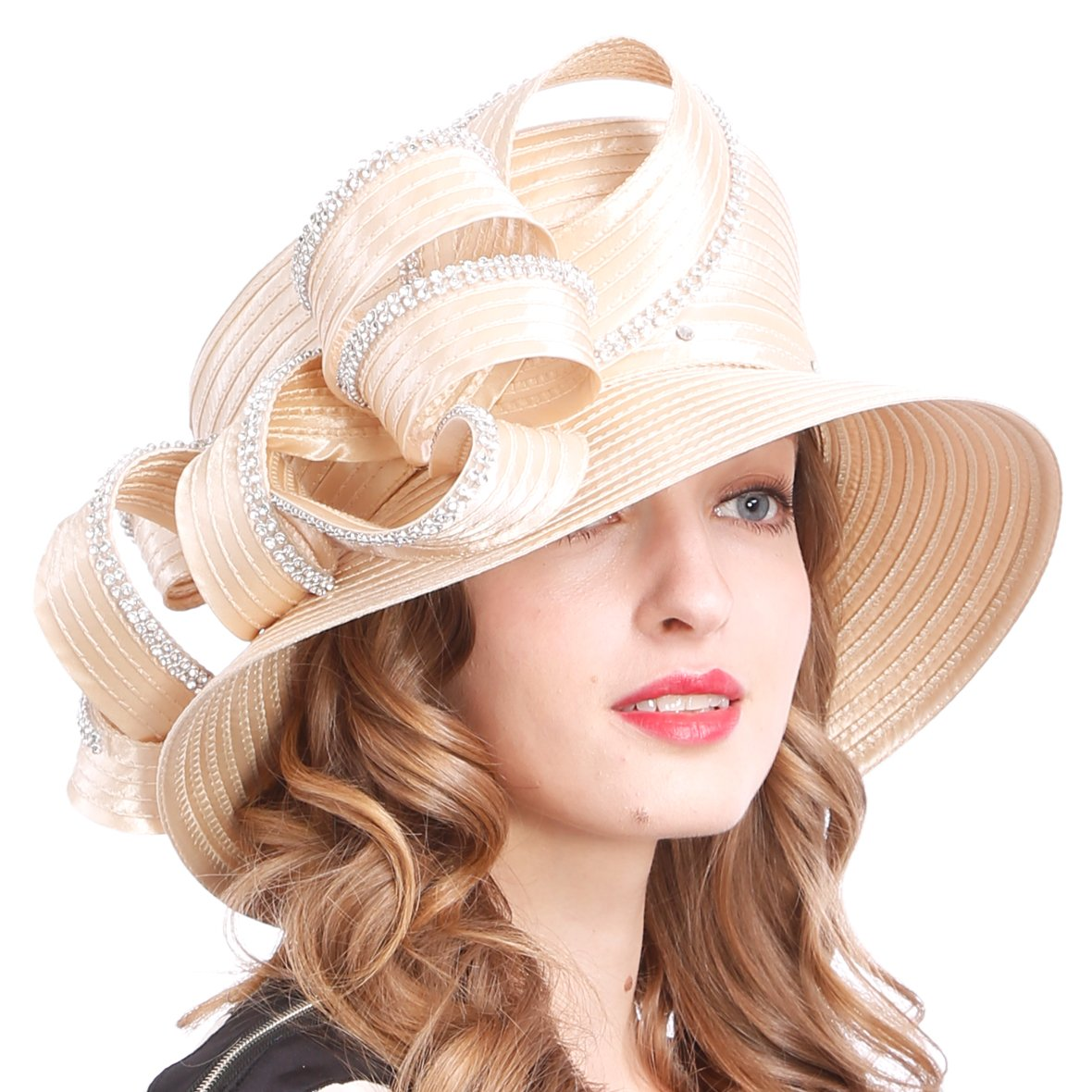 Womens Tea Party Church Baptism Kentucky Derby Dressy Hat (Rhinestone-Apricot)
