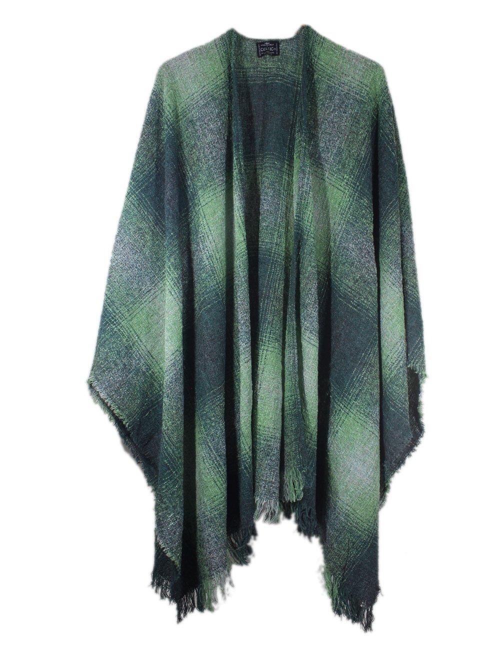 Wool Ruana Green Check Kerry Woollen Mills Made in Ireland