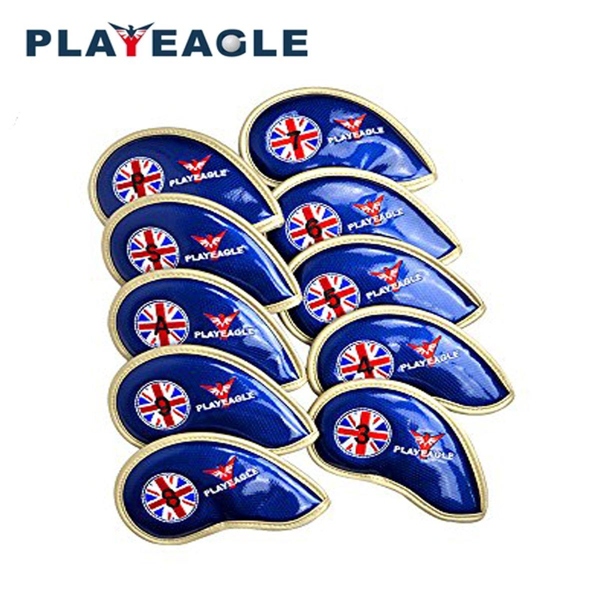 playeagle 10個/セット厚さPUレザーゴルフヘッドカバー防水Easy Cleanアイアンヘッドカバーwithパターン  ブルー B0788HHTJW