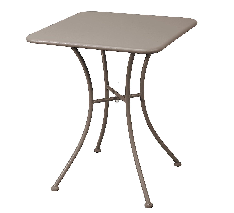 Havnyt Garden Furniture Patio Steel Table Outdoor 60 x 60cm Taupe Grey Weatherproof Bespoke Worker