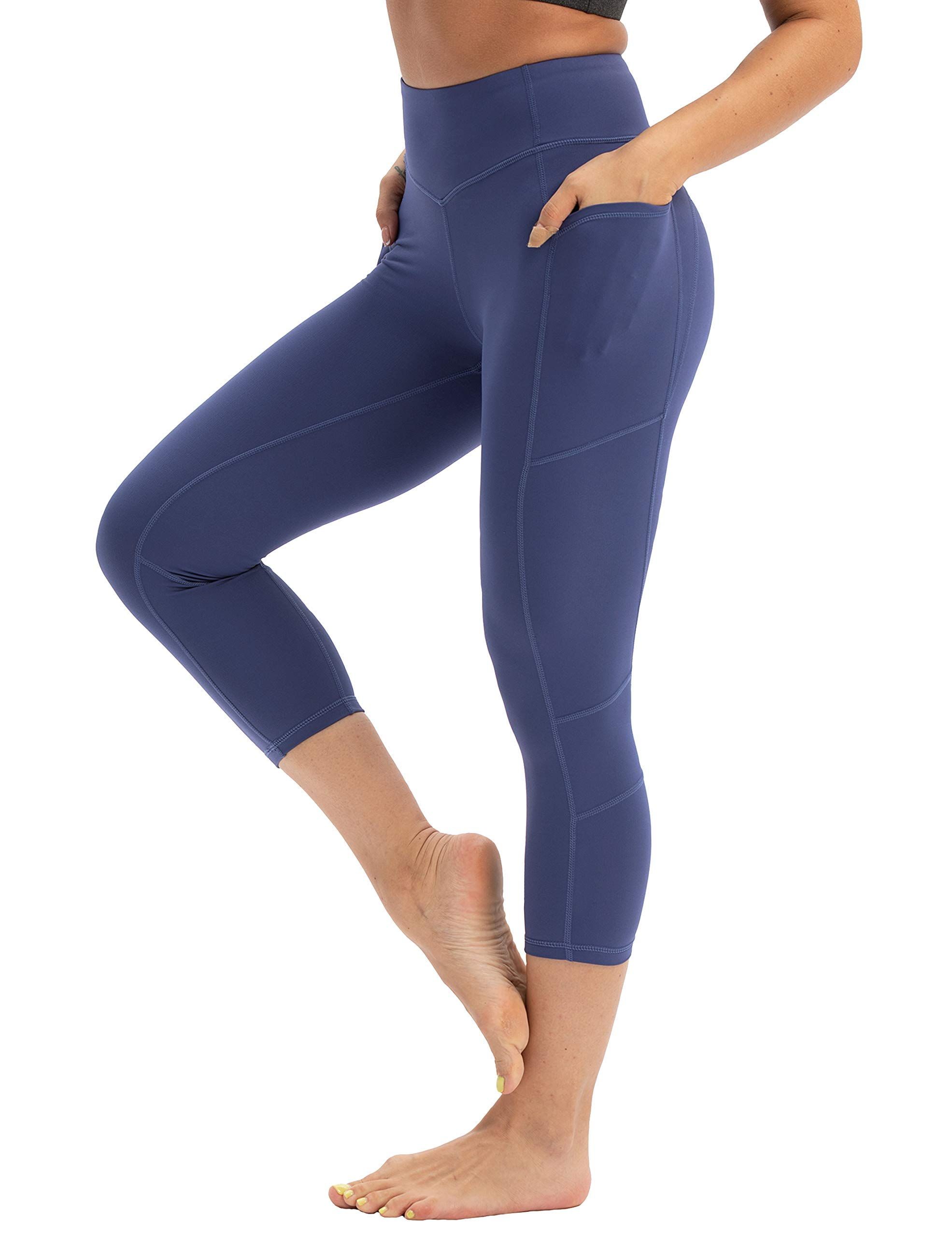 Hopgo Women's 3/4 Workout Legging Crop Yoga Pants Tummy Control Sports Tights Blue US S