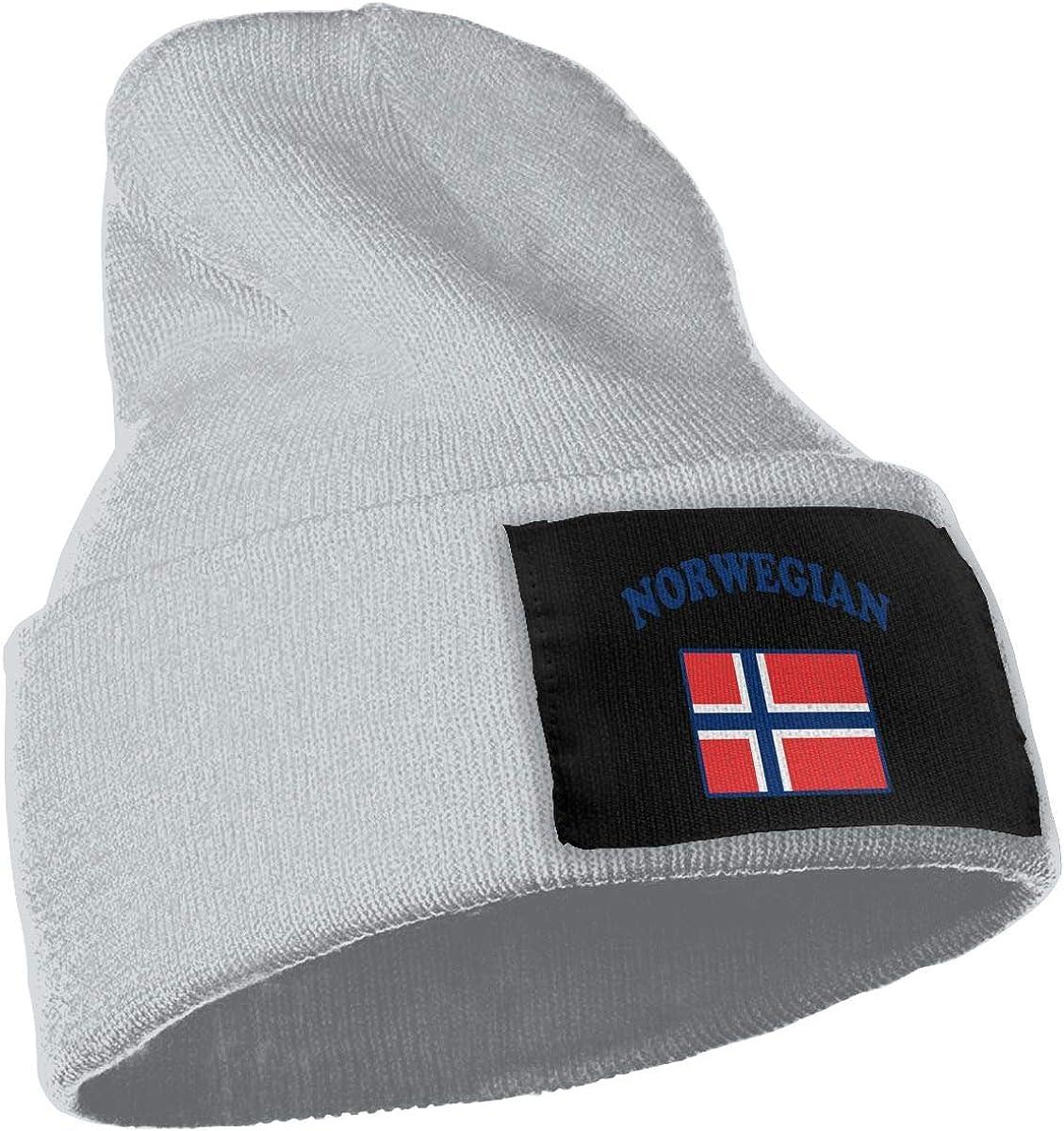COLLJL-8 Unisex Norwegian Flag Outdoor Warm Knit Beanies Hat Soft Winter Knit Caps