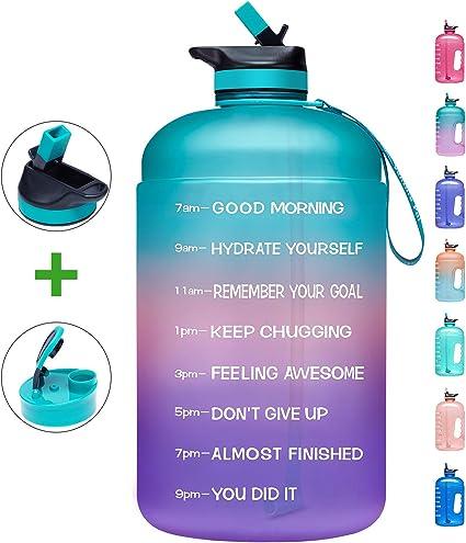 128oz// 1 Gallon Motivational Water Bottle Time Marker Sports Leakproof BPA Free