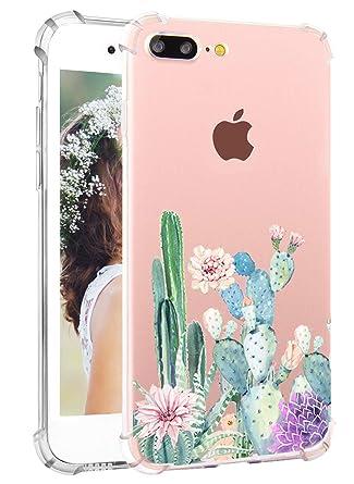 Cactus iPhone 8 Plus Case Cute iPhone 7 Plus Case Cacti Flowers Hepix White  Clear Soft Flexible Slim Protective Phone Cases Shockproof TPU Bumper Back