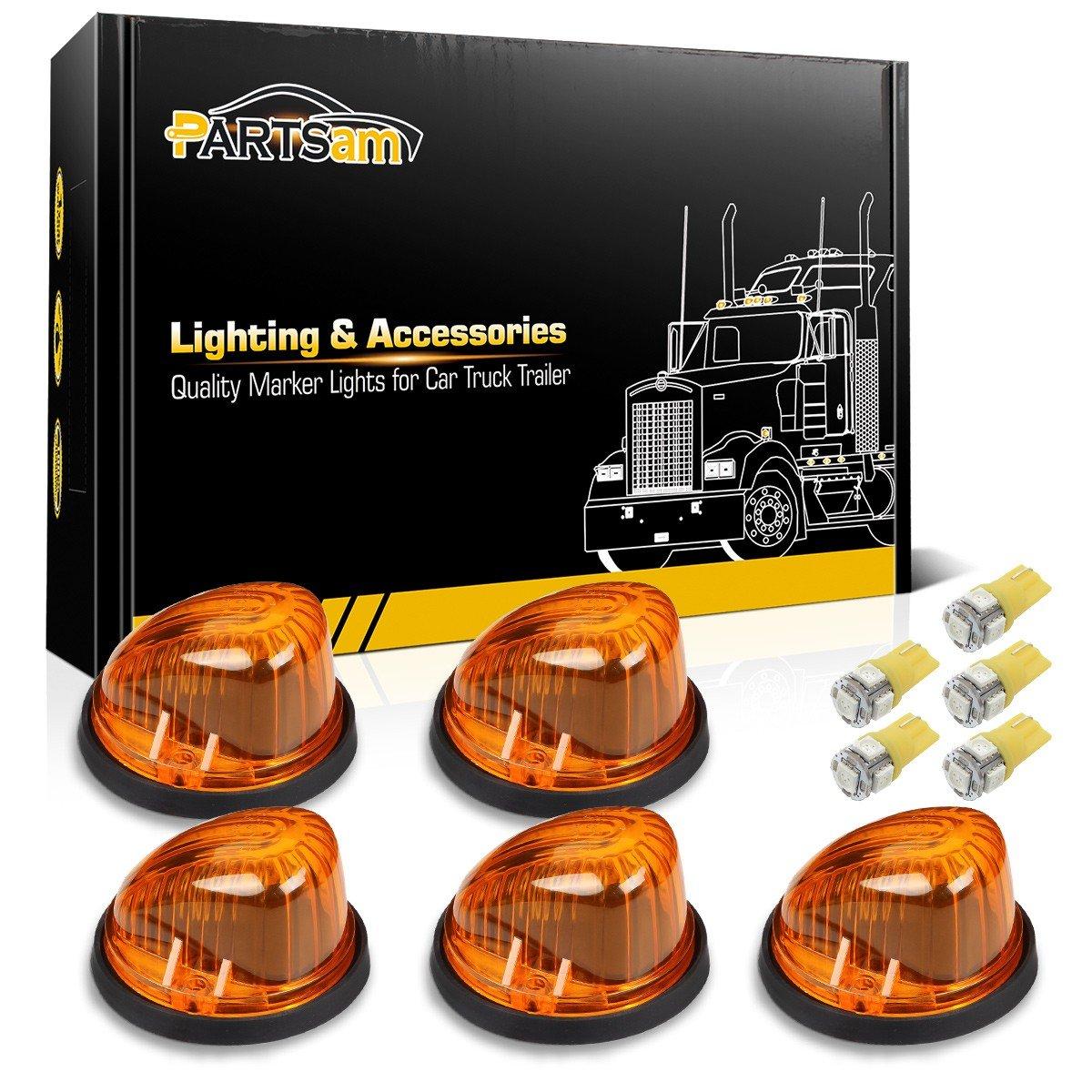 Partsam 5X Cab Marker Light Marker 1313A Amber Lens + 5X Amber T10 LED Bulbs + Base Compatible with Chevrolet/GMC/Dually Suburban Blazer C1500 C2500 C3500 K1500 K2500 K3500 1969-1987 Pickup Trucks