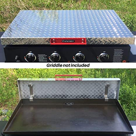 Black Aluminum Diamond Plate Lid Cataumet 36 Inch Griddle Hard Cover Custom Industrial Over Sized Handle Stainless Steel Hardware