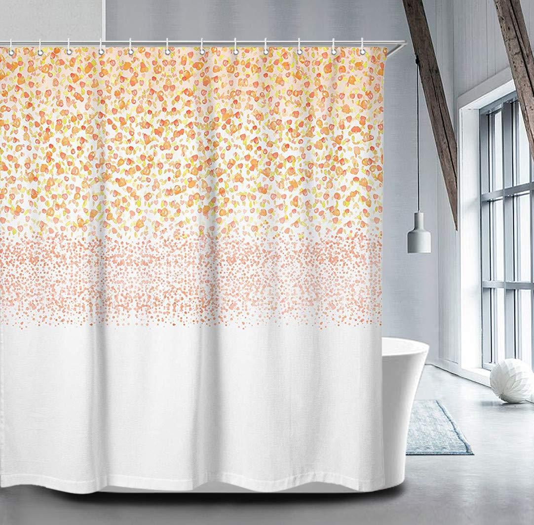 Livilan Blush Petals Rain Floral Shower Curtain Set 70.8'' x 70.8'', Decorative Waterproof Quick Dry Thick Polyester Fabric Bathroom Curtain, Peach