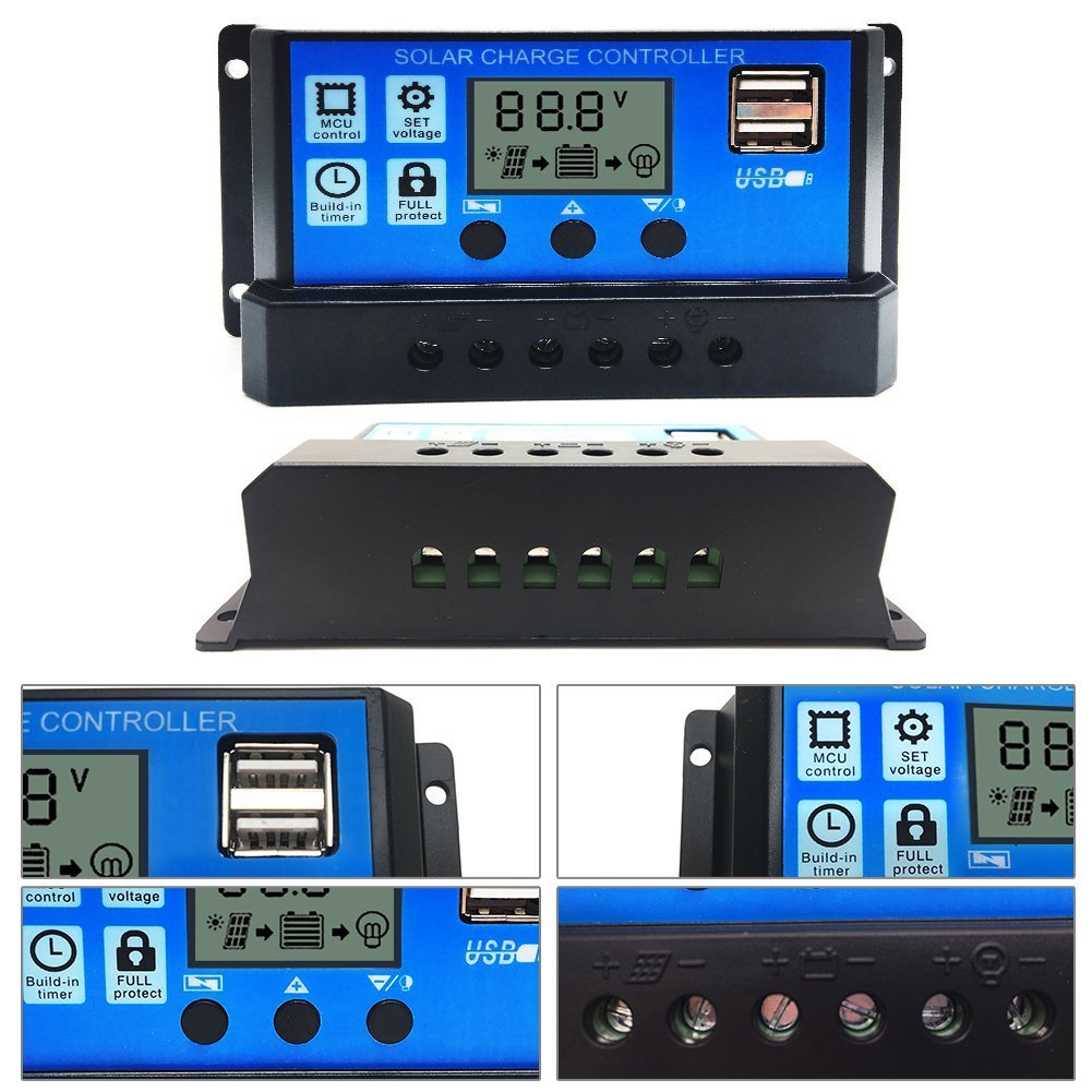 Powerez 10amp Pwm Solar Charge Controller Panel 10a 12v24v Automatic Art Of Circuits Battery Intelligent Regulator With Usb Port Lcd Display 12v 24v Garden Outdoor