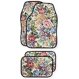 Floral Front & Rear Car Floor Mats - Set Of 4 Flower