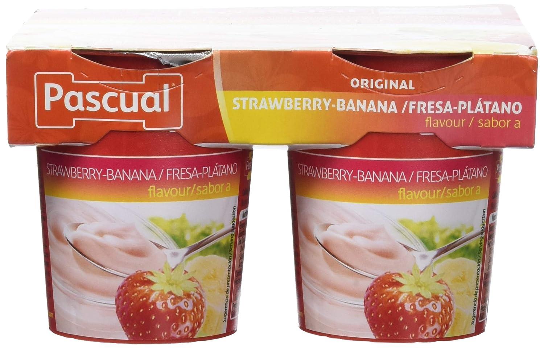 Pascual Yogur Sabor Fresa y Plátano - Paquete de 4 x 125 gr ...