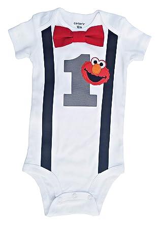 77a6b3913 Amazon.com: Baby Boys 1st Birthday Outfit - Elmo Bodysuit: Clothing