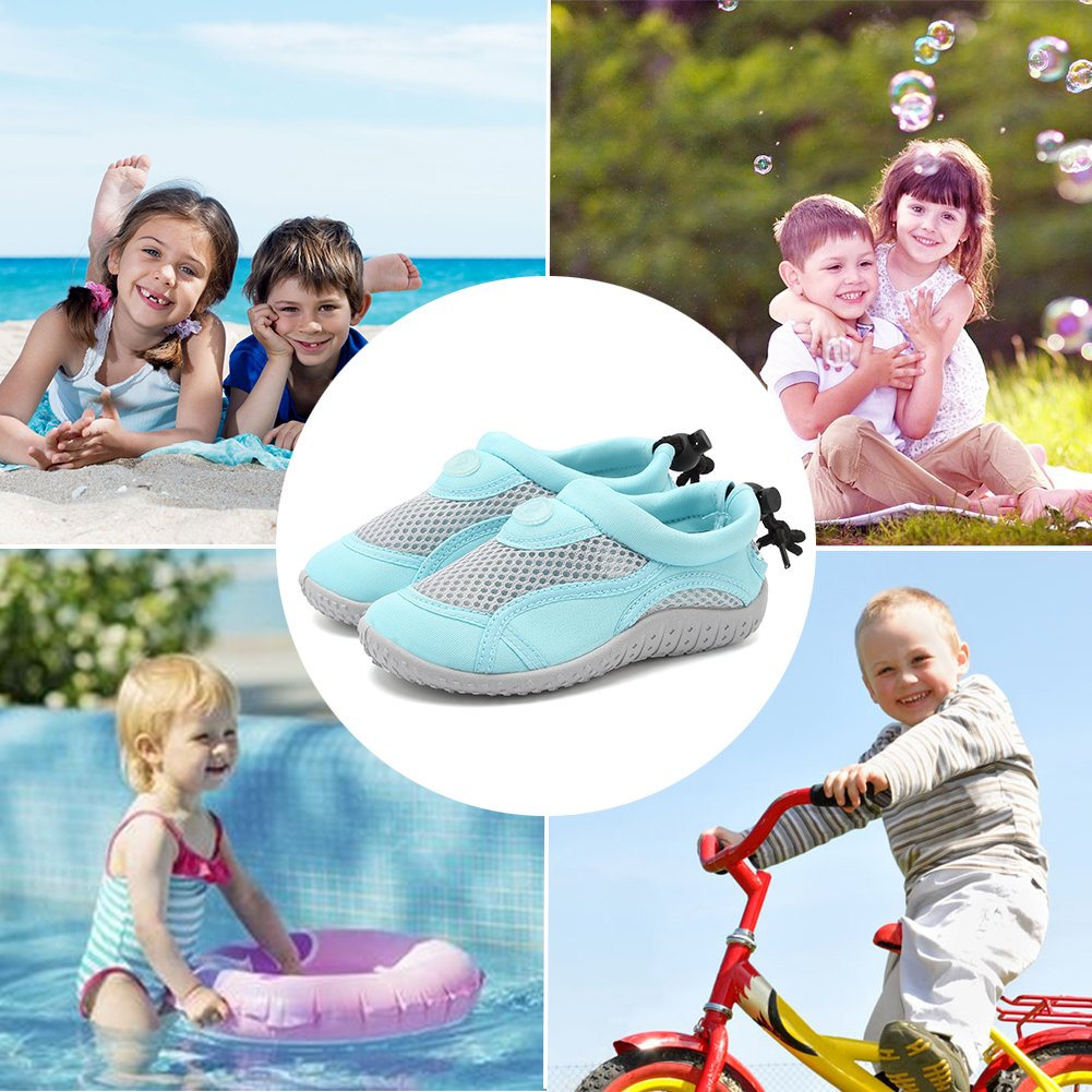 CIOR Toddlers Water Shoes Aqua Socks Athletic Swim Pool Beach Sports Quick Drying for Baby Boys and Girls(Toddler/Little Kid/Big Kid),TD397,01Aqua,22 by CIOR (Image #6)