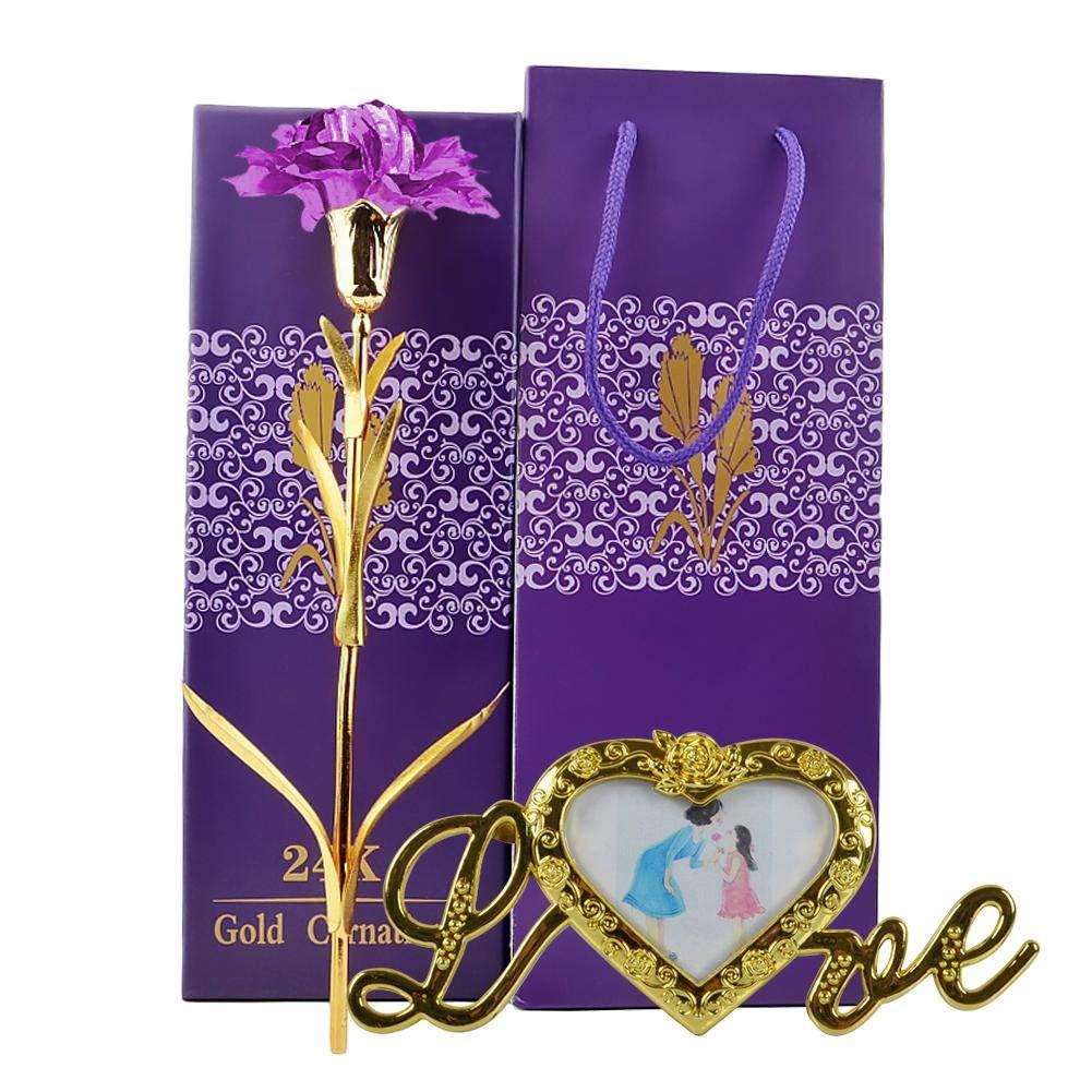 Gold Foil Carnation Mother's Day Send Mom Gift Birthday Gift Flower Flower Frame Base Flower Stand Shop LOVE Base Carnation